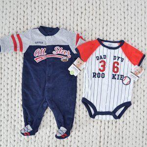 Carter's Sports Football Baseball Sleeper Bodysuit